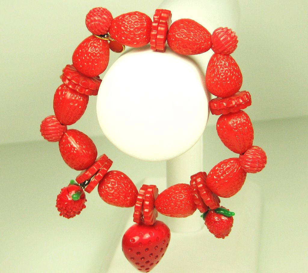 Vintage Hattie Carnegie Strawberry Celluloid Bracelet