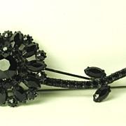 Vintage Hattie Carnegie Black Enamel Flower Brooch