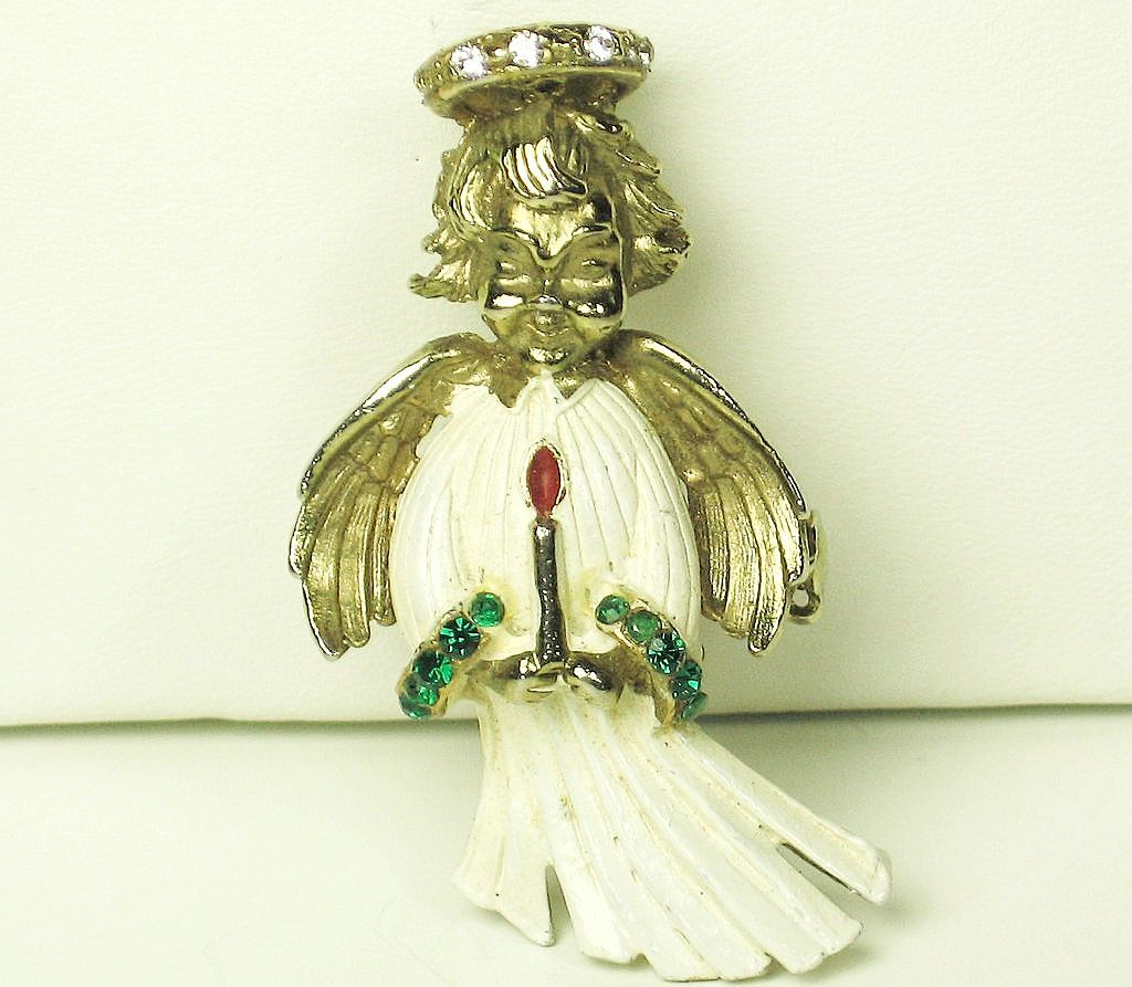 Hattie Carnegie White Enamel Angel Brooch