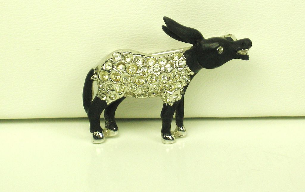 Hattie Carnegie Black Enamel and Rhinestone Donkey Pin
