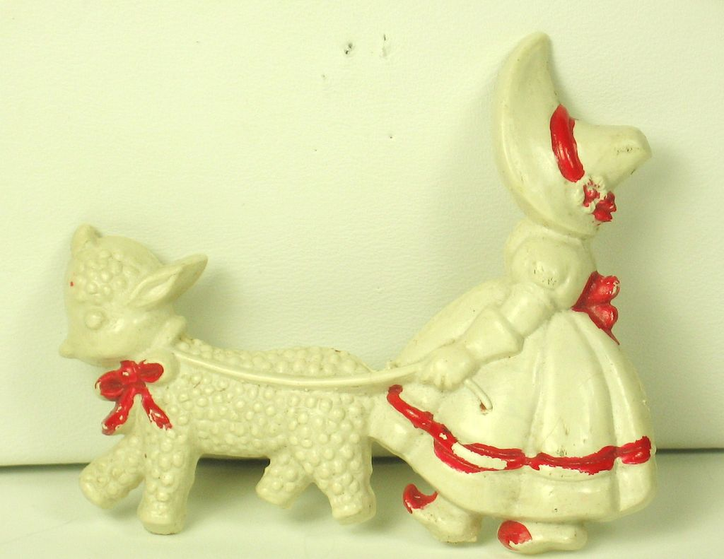 Vintage Hand Painted Plastic Girl Walking Sheep Pin
