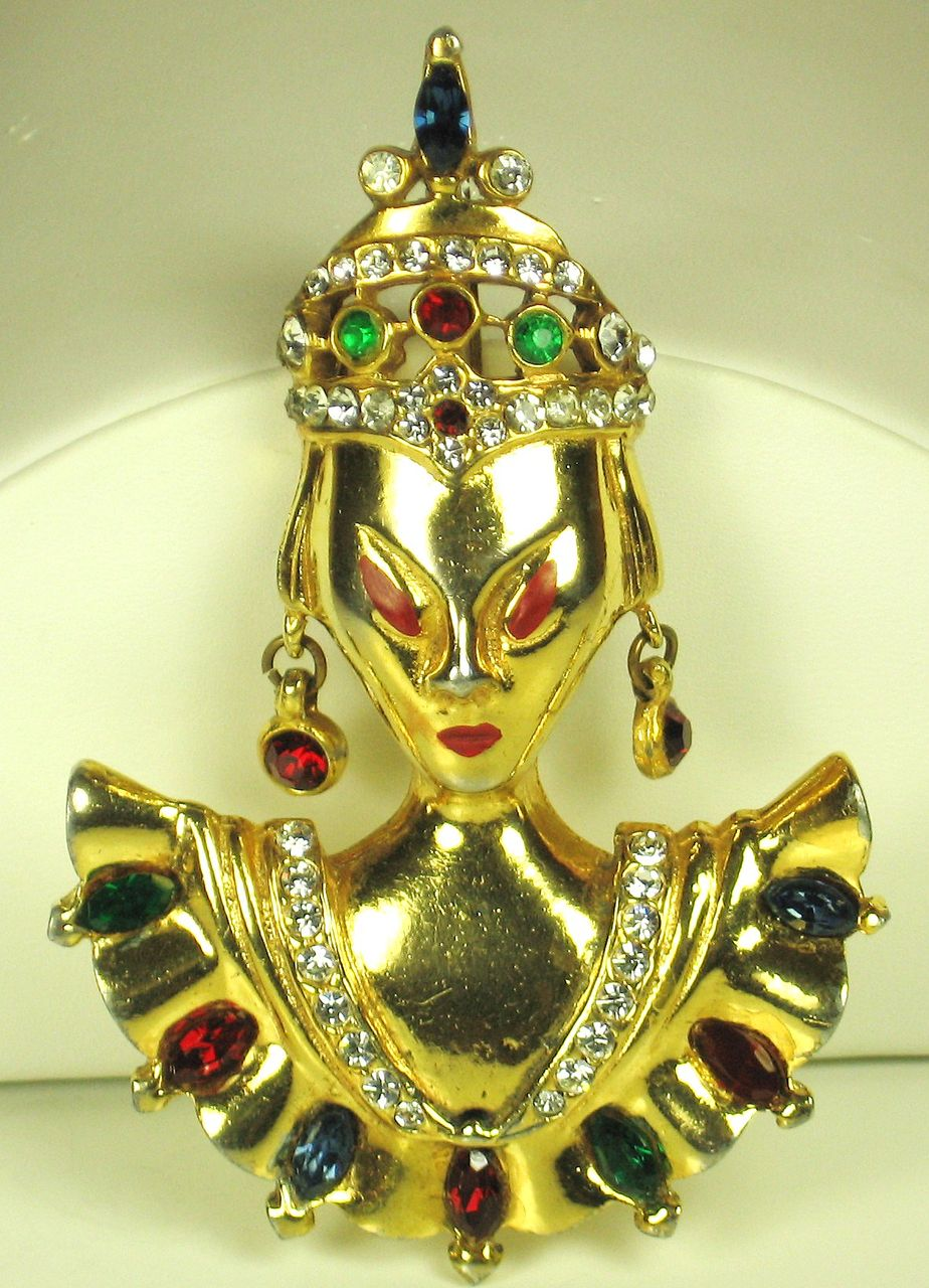 Vintage Unsigned Jeweled Asian Princess Pin