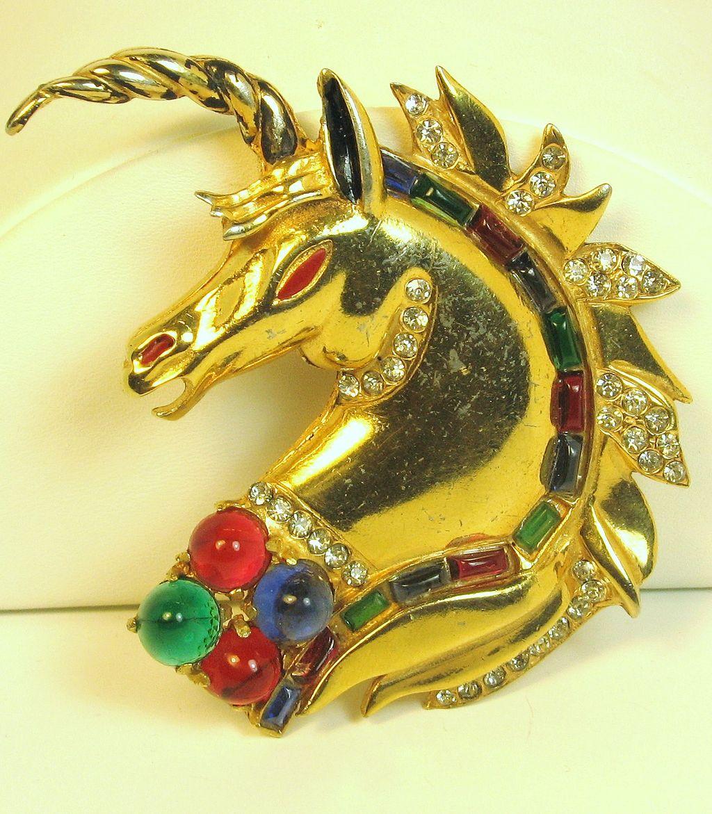 Vintage Reinad Black Enamel and Glass Unicorn Pin