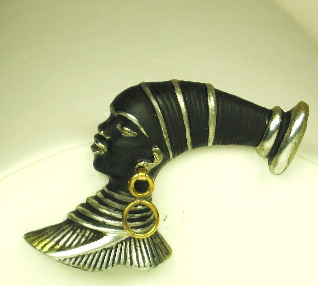 Alexander Korda Blackamoor African Woman Figural Pin