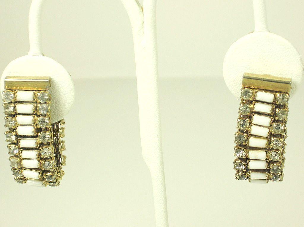 Vintage Hattie Carnegie Rhinestone and White Baguette Earrings
