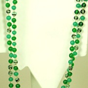 Marbled Green Glass and Faceted Purple Crystal Bead Necklace
