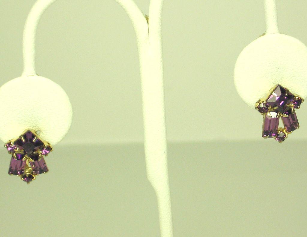 Vintage Coro Purple Glass Stone Earrings