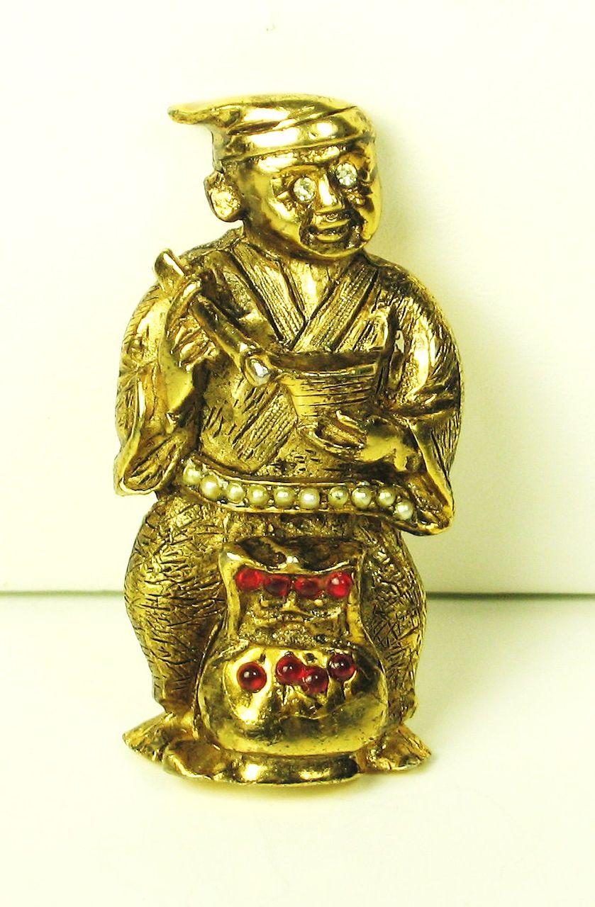 Rare Vintage Hattie Carnegie Imitation Pearl Asian Figural Pin
