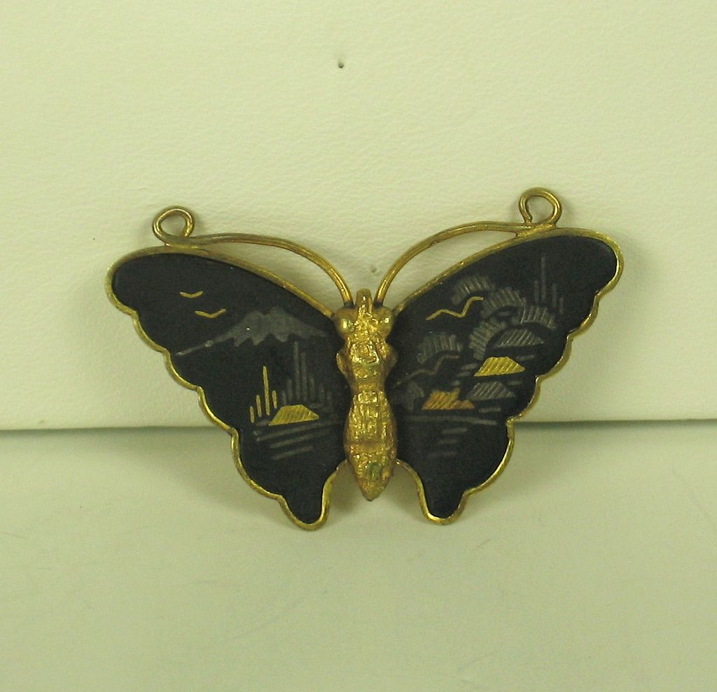 Vintage Old Black Glass Butterfly Brooch and Pendant
