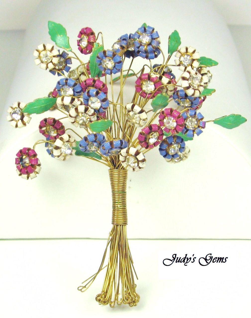 """Rare Hattie Carnegie """"HC"""" Enameled Flower Bouquet Brooch"""