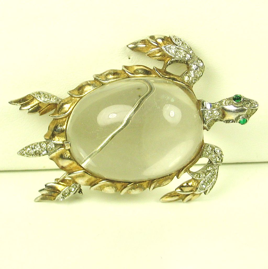 Trifari Sterling and Lucite Jelly Belly Sea Turtle