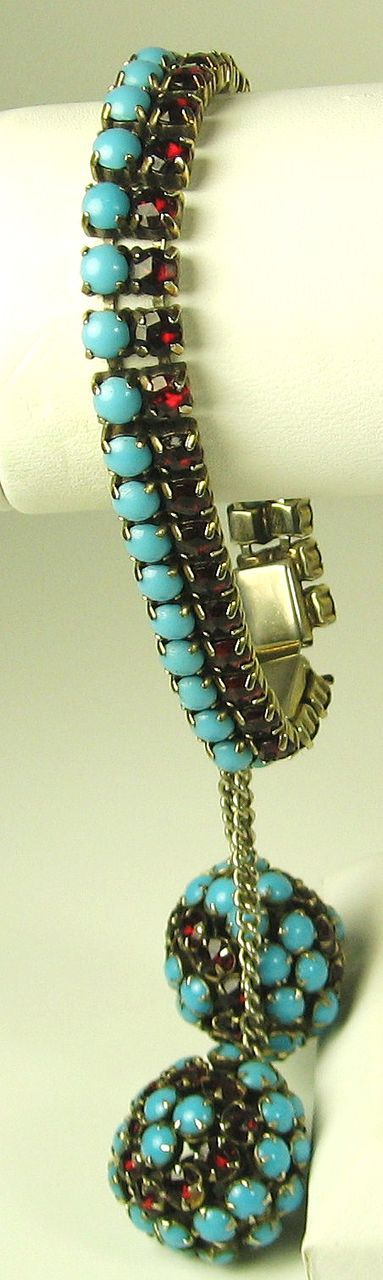 Hattie Carnegie Turquoise Colored Glass Bead and Red Rhinestone Bracelet