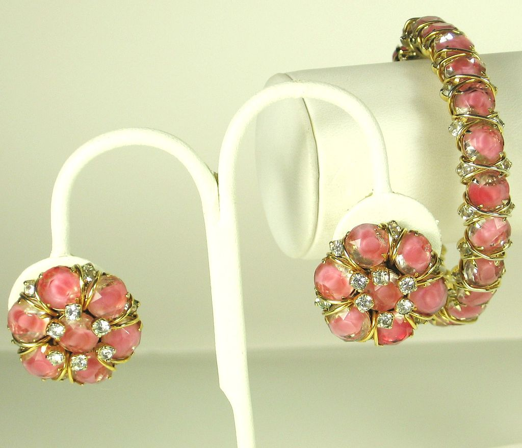 Hattie Carnegie Pink Givre Glass Bracelet and Earrings