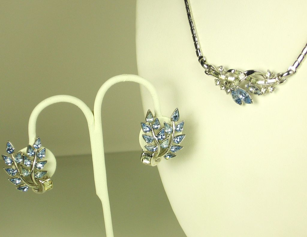 Trifari Rhodium Plated Metal and Light Blue Glass Necklace and Earrings