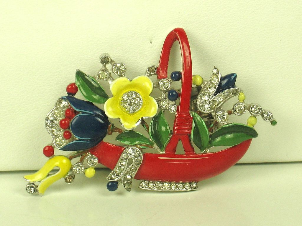 1940 Trifari Enameled Flower Basket Fur Clip