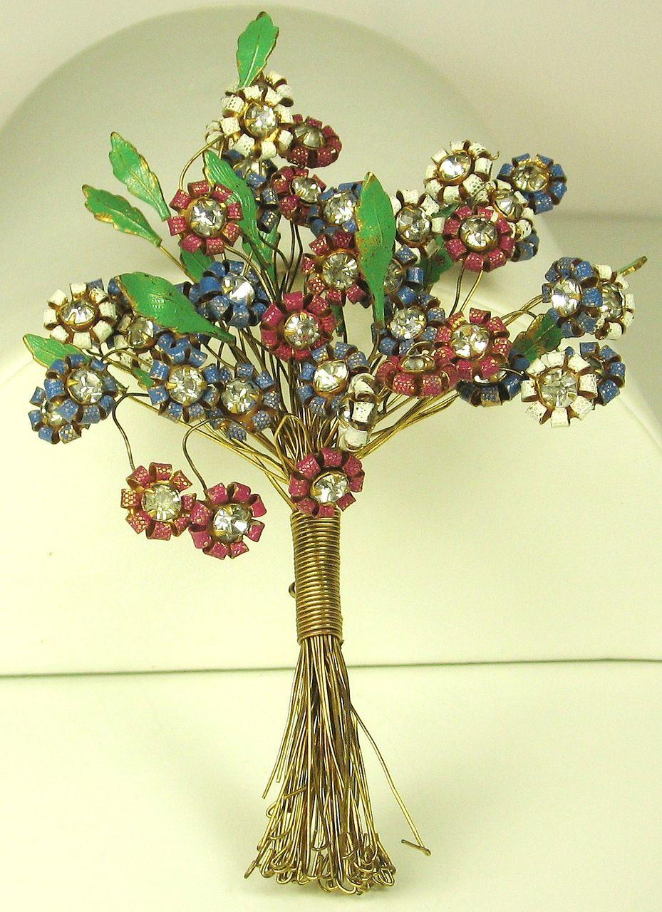 "Rare Vintage Hattie Carnegie ""HC"" Enamel Flower Bouquet Pin"