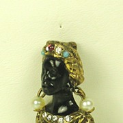 Hattie Carnegie Cultured Pearl and Enamel Blackamoor Pin