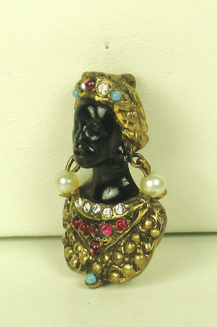 Hattie Carnegie Cultured Pearl and Enamel Blackamoor Pin