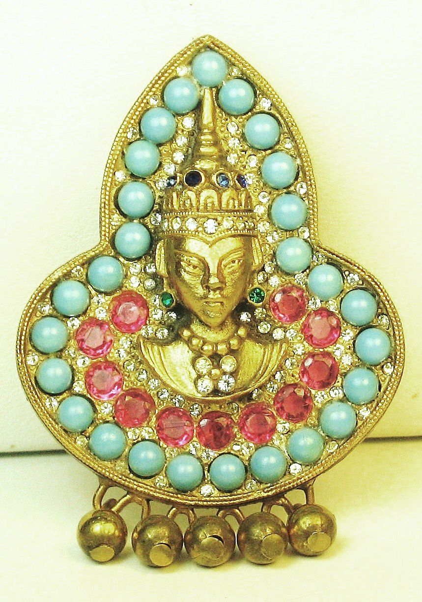 Hattie Carnegie Ruby Rhinestone Asian Figural Pin