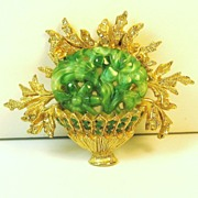 Vintage Hattie Carnegie Deep Carved Marbled Green Glass Flower Basket