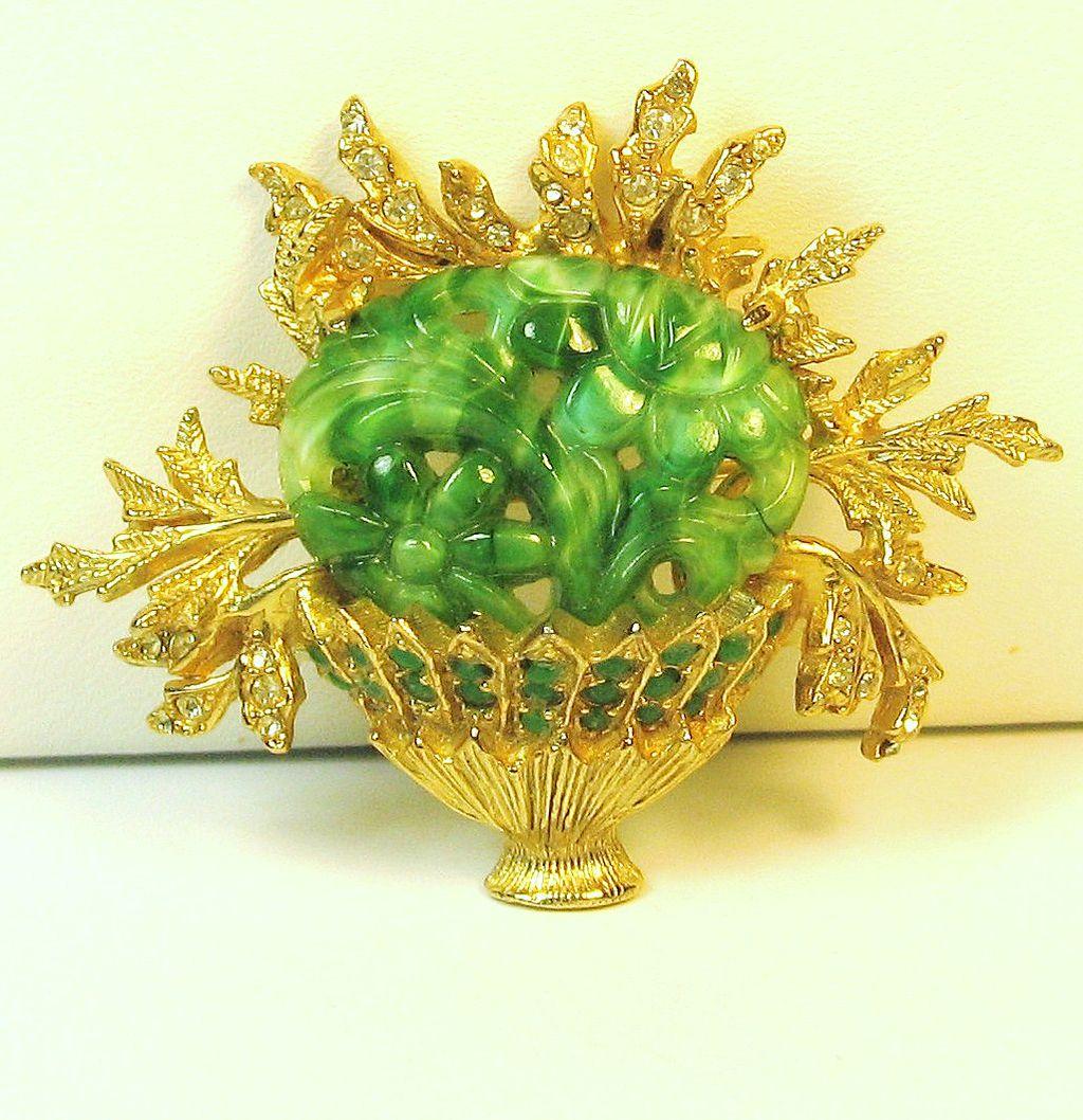 Vintage Hattie Carnegie Deep Carved Marbled Green Glass Flower Basket