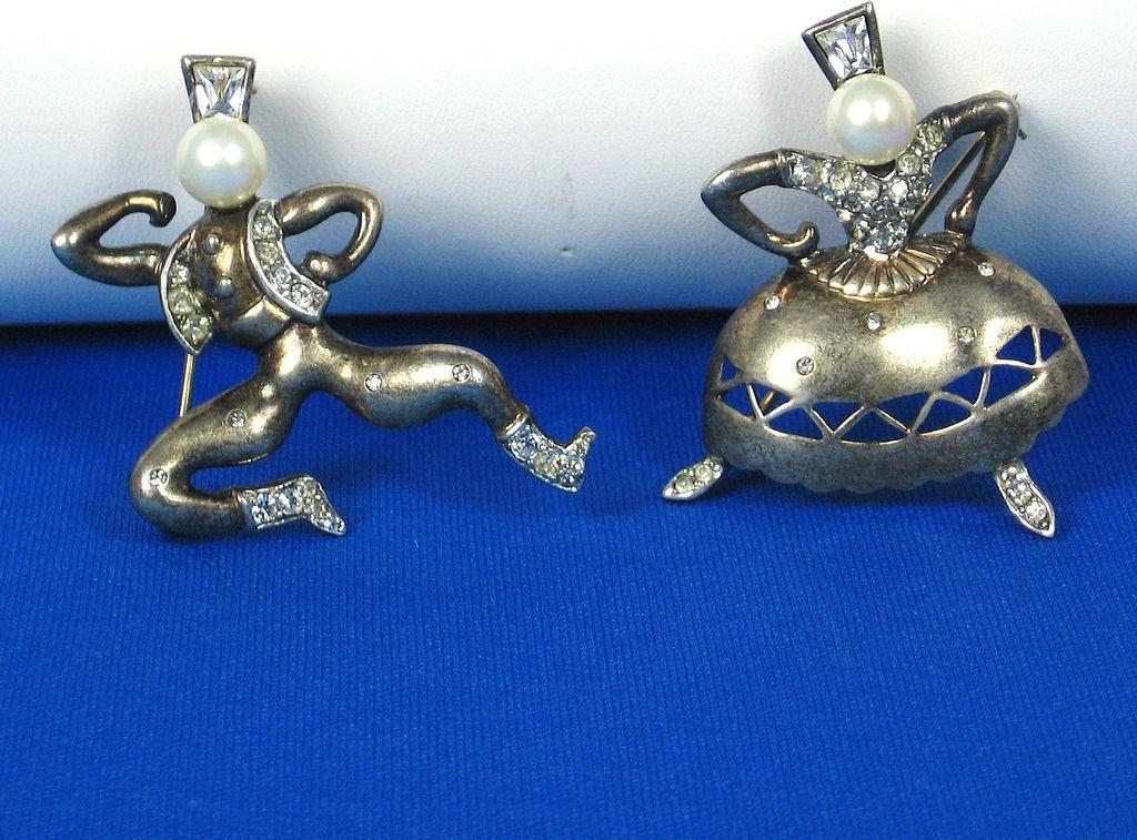 1947 Trifari Sterling Imitation Pearl Sasha and Tasha Pins