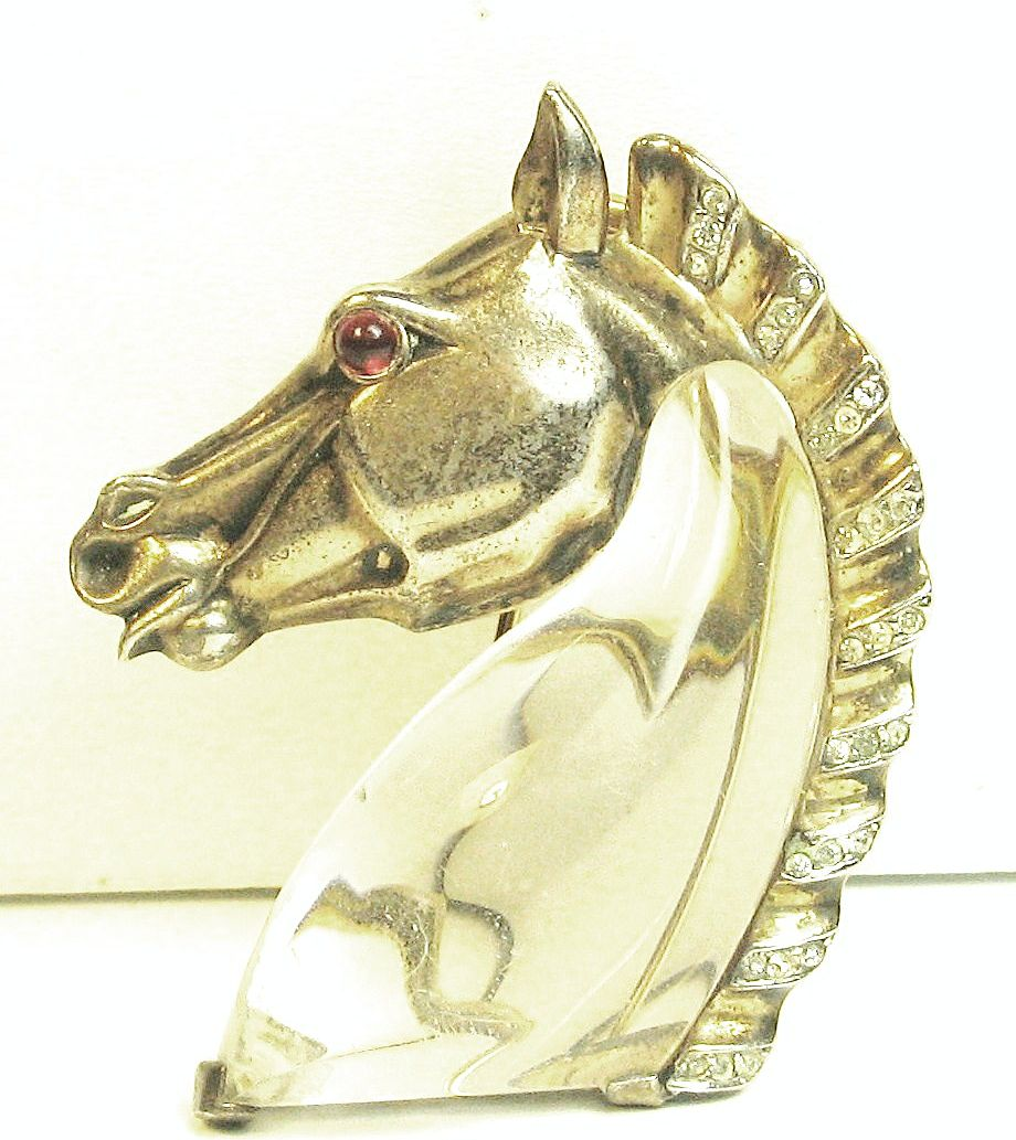 1940s Trifari Lucite and Sterling Horse Jelly Belly Fur Clip