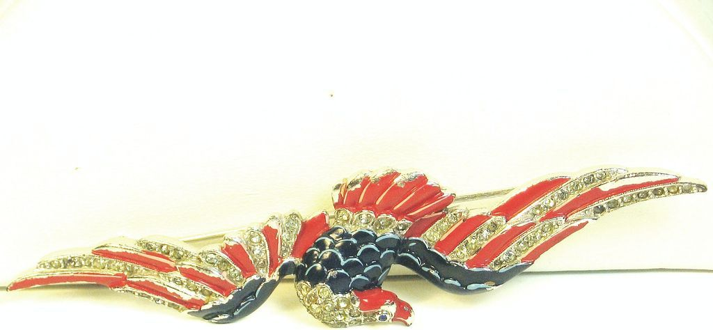 1940s Trifari Red White and Blue Enamel Soaring Eagle Pin