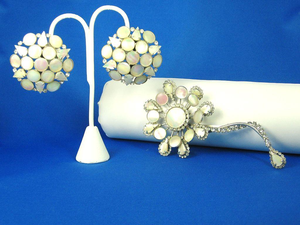 Hattie Carnegie Mother of Pearl Floral Brooch and Earrings
