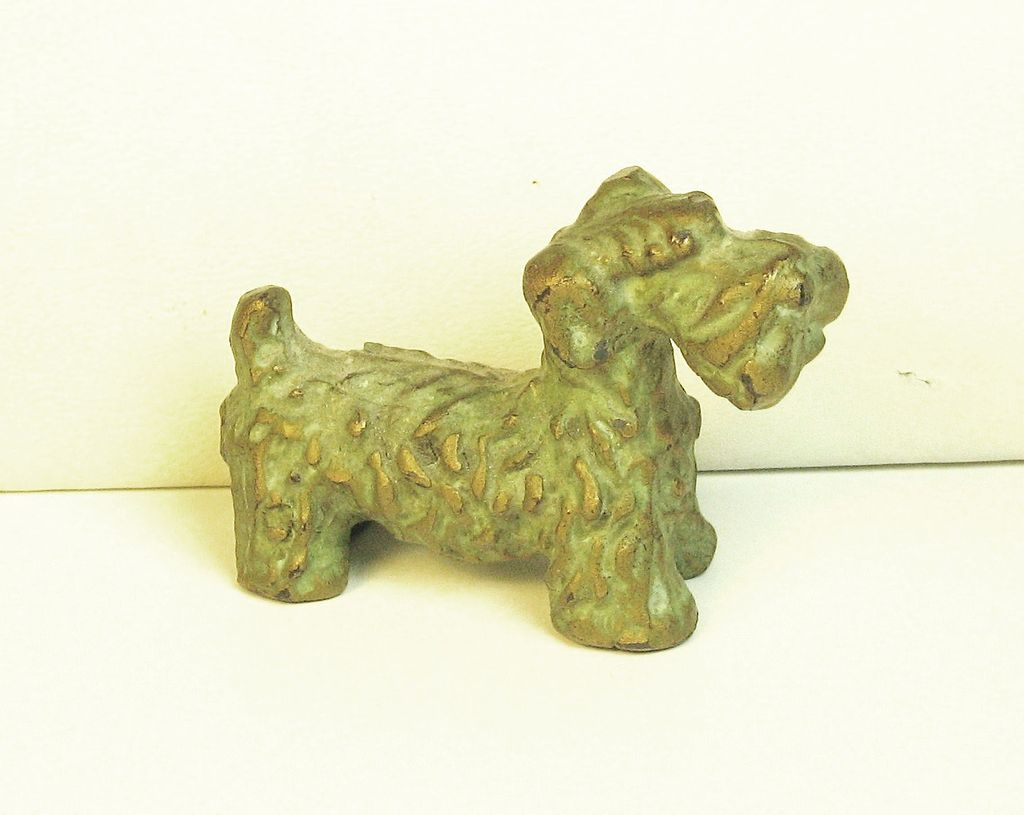 Vintage McClelland Barclay Green Enamel Bronze Scottie Pup