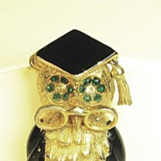 Vintage Hattie Carnegie Black Enamel Wise Old Owl Pin