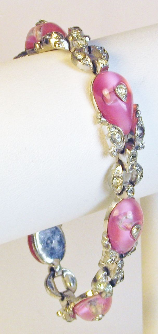 Old 1930s Trifari Rhodium Plated Metal and Pink Glass Bracelet