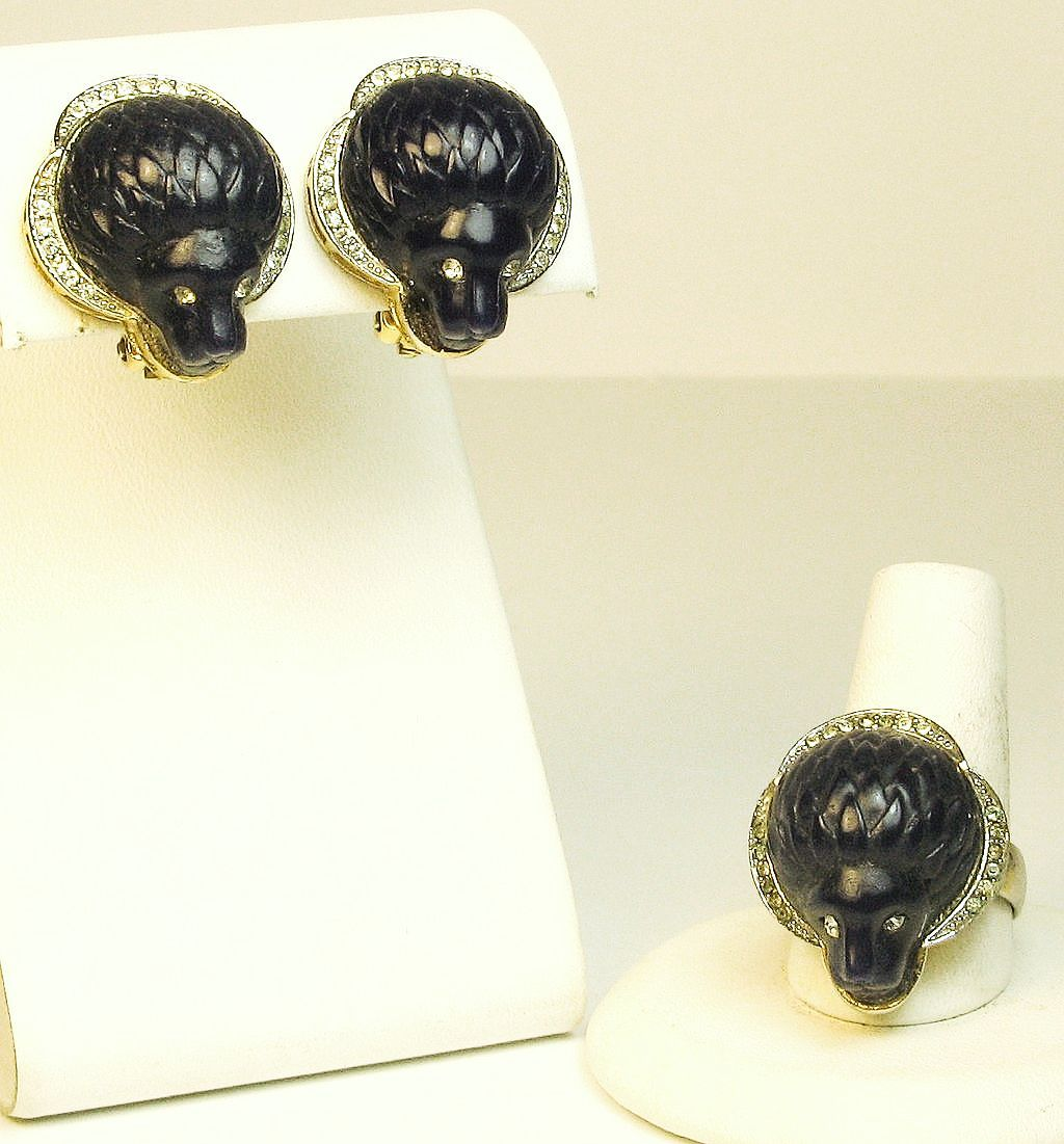 Vintage Hattie Carnegie Lion Head Ring and Earrings