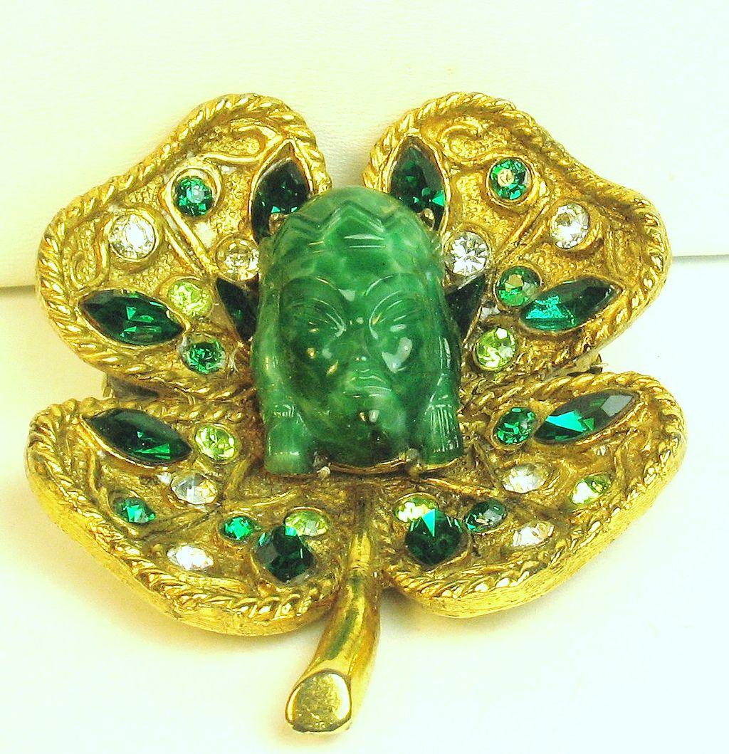 Vintage Hattie Carnegie Asian Princess Clover Leaf Brooch