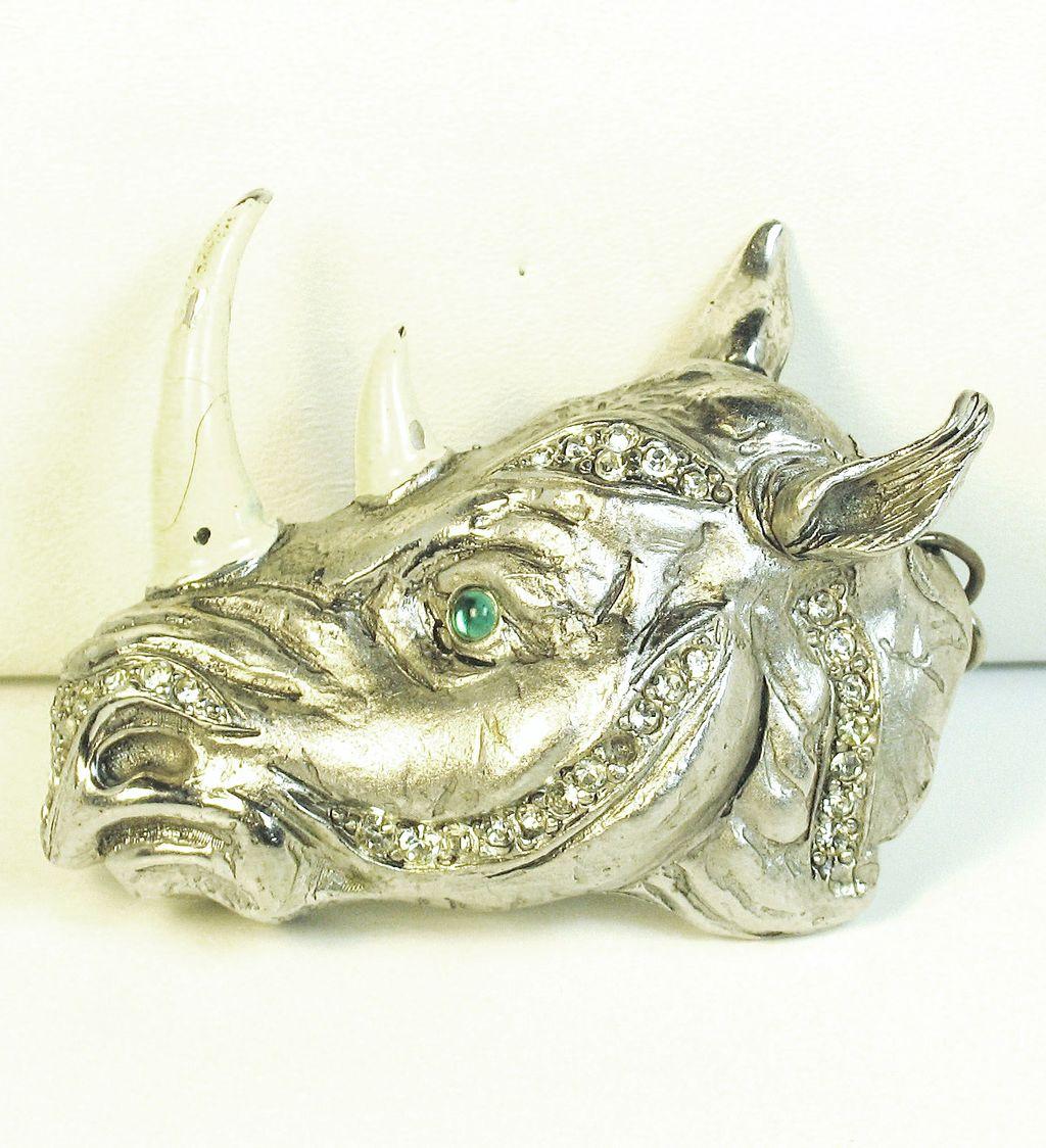 RARE Vintage Hattie Carnegie White Enamel Rhino Pendant