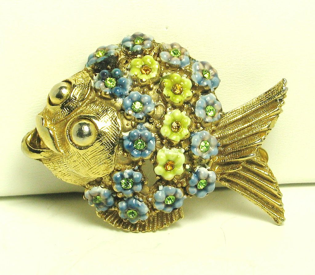 Hattie Carnegie Yellow and Blue Enamel Flower Fish Pin