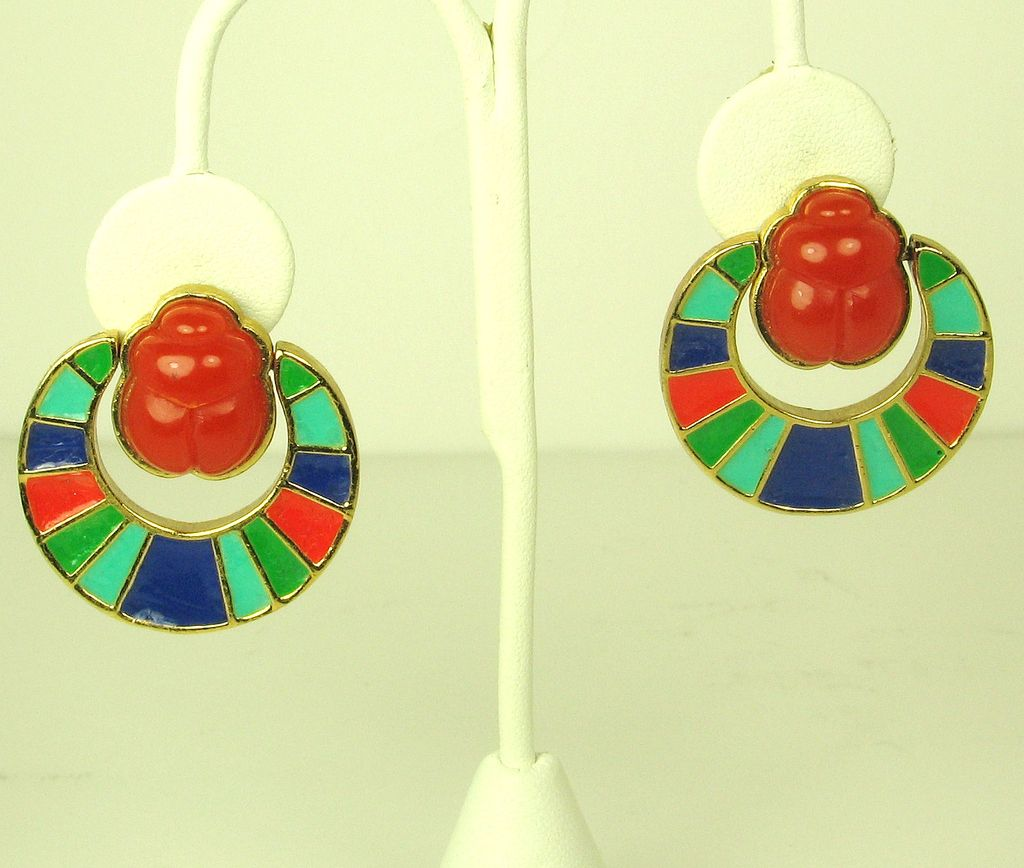 Hattie Carnegie Egyptian Revival Enamel Scarab Earrings