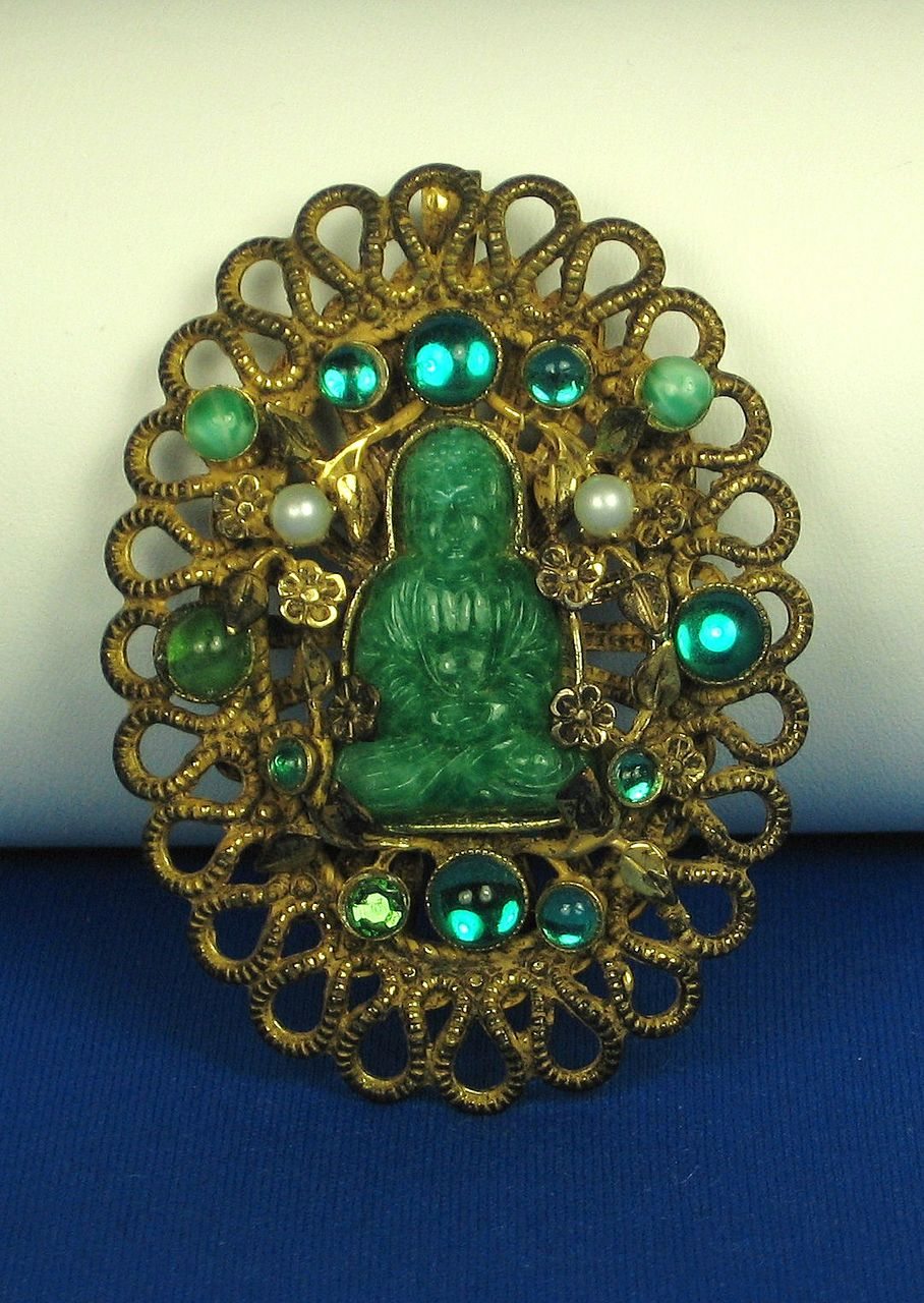 Vintage Hattie Carnegie Buddha Pin with Imitation Pearls