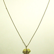 12kt Gold and Mother of Pearl Heart Pendant Necklace