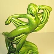 Vintage Deep Green Glaze Pottery Flower Frog