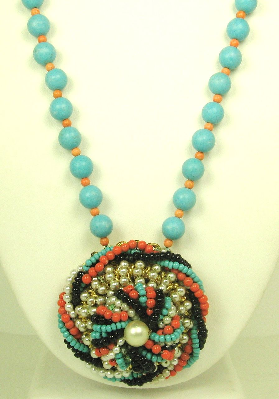 Hattie Carnegie Imitation Pearl and Glass Bead Necklace