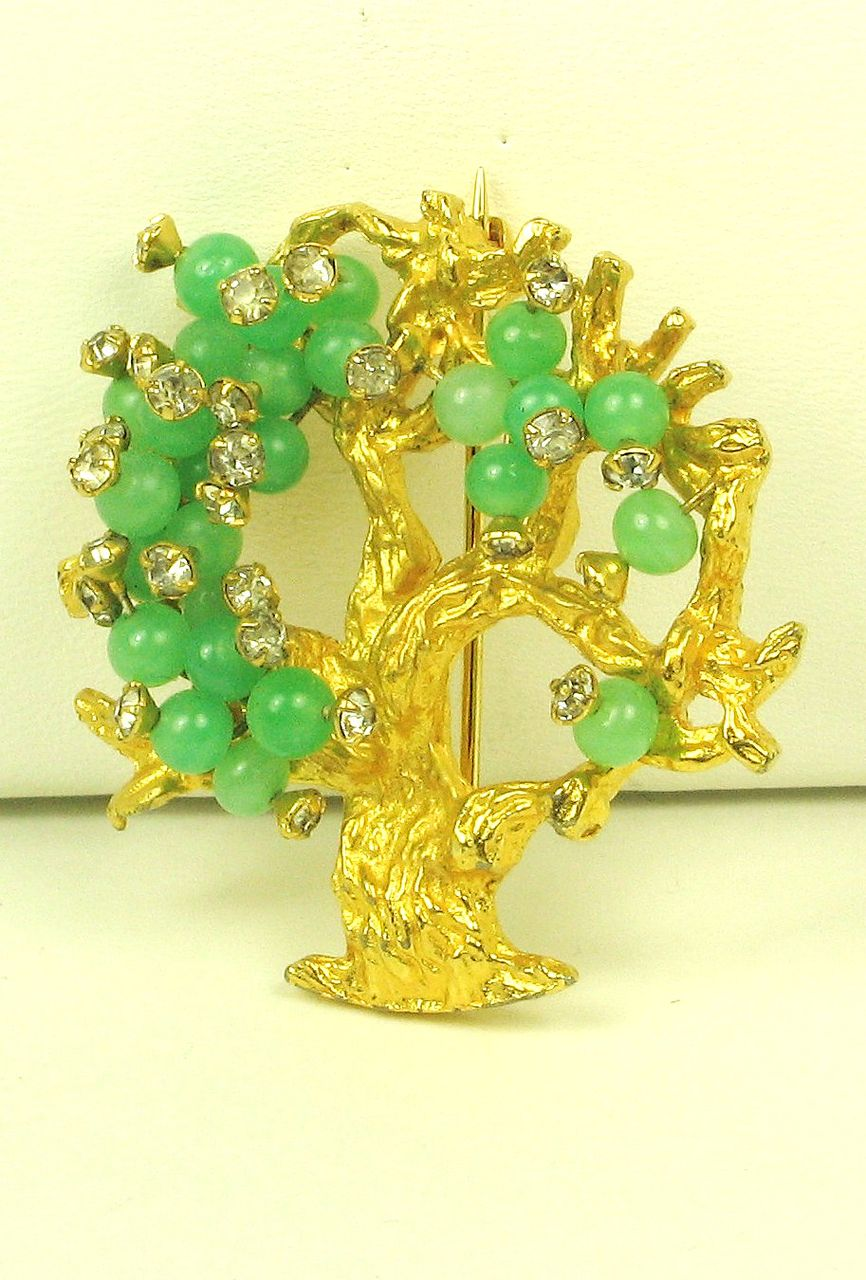 Hattie Carnegie Green Glass Bead Tree Pin