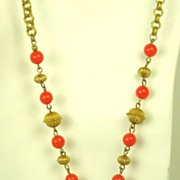 Hattie Carnegie Coral Art Glass Pendant Necklace