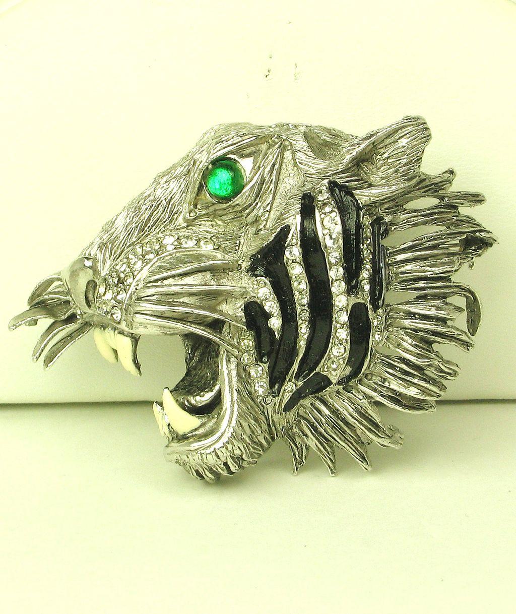 Rare Hattie Carnegie Enamel Roaring Tiger Pin