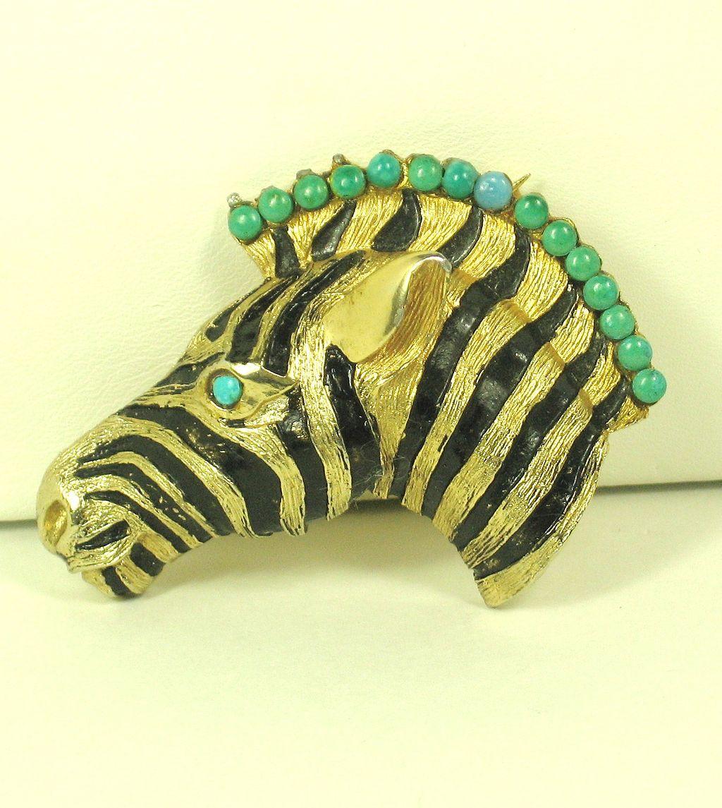 Hattie Carnegie Black Enamel Zebra Pin
