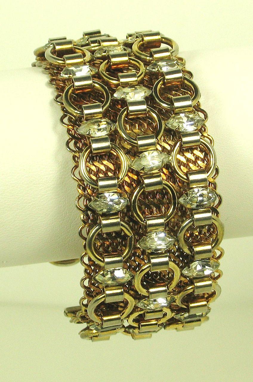 Gold Tone Mesh Metal Hattie Carnegie Cuff Bracelet