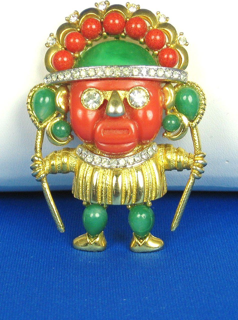 Hattie Carnegie Aztec Warrior Pin