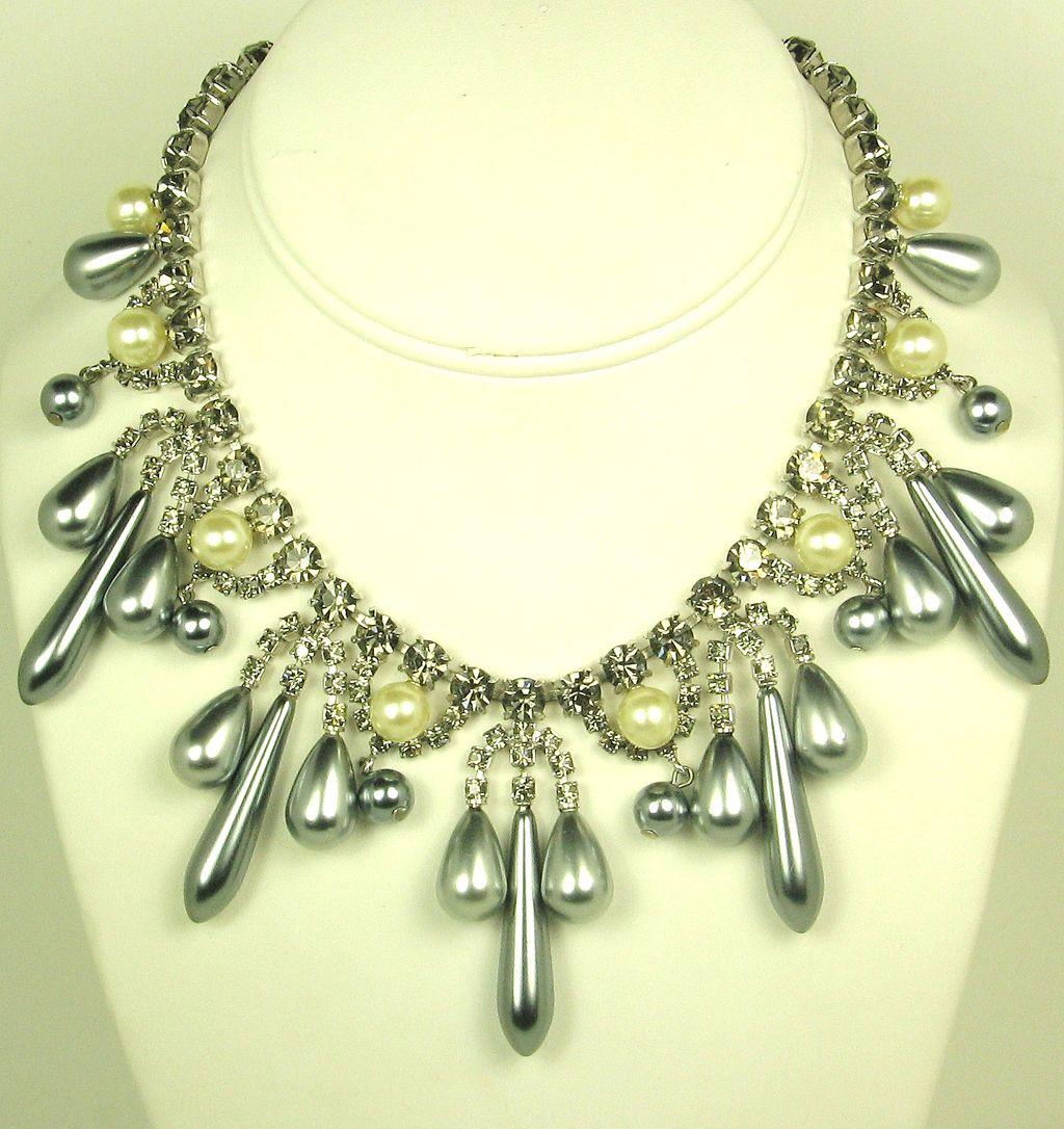 Hattie Carnegie Imitation Pearl and Smoky Rhinestone Necklace