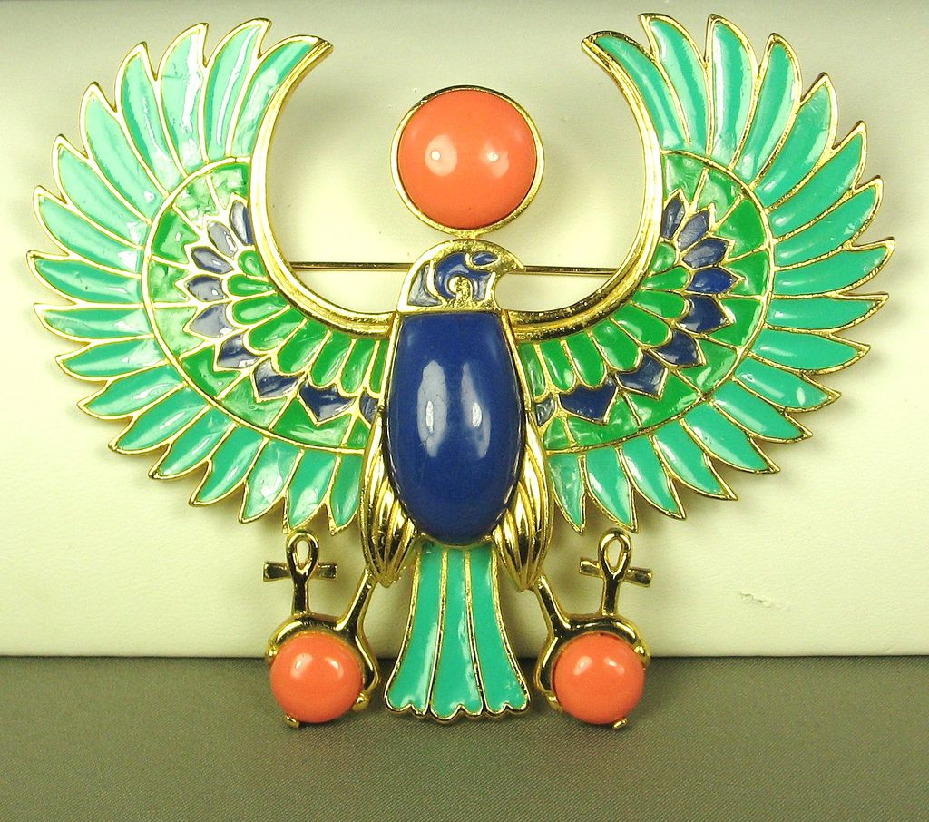 Hattie Carnegie Enamel Egyptian Revival Falcon Pendant/Pin