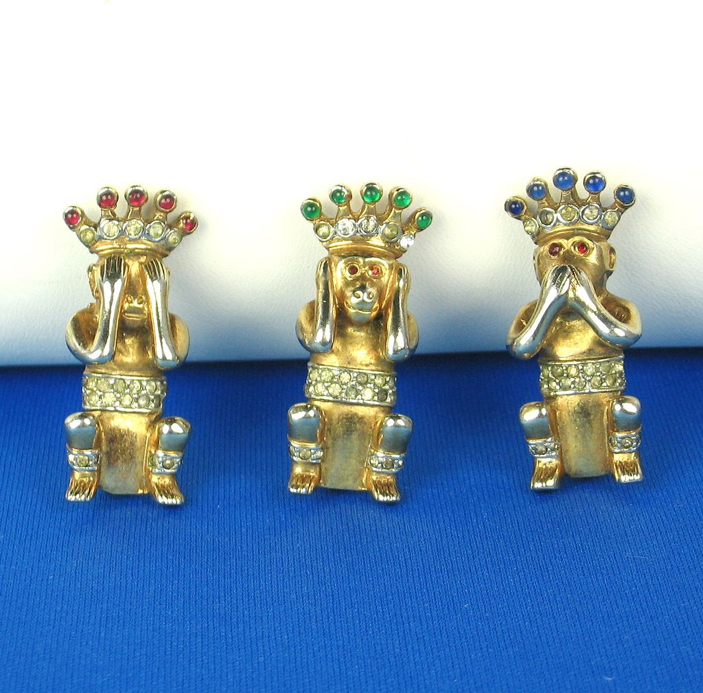 Trifari Alfred Philippe 1941 Three Wise Monkey Pins